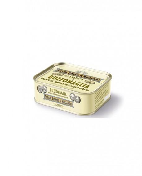 """Buzzonaglia di tonno rosso in latta """"Antiche tonnare di Marzamemi"""" 340 g (tranci interi) - Campisi"""