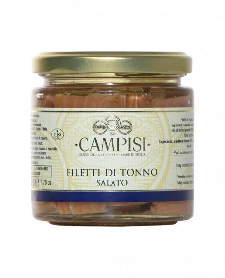 Filetto di Tonno salato in Olio di Oliva - vaso vetro 220 g - Campisi