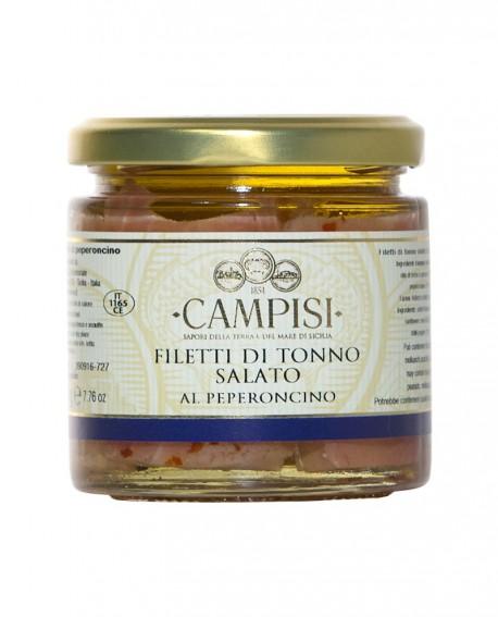 Filetto di Tonno salato al peperoncino in Olio di Oliva - vaso vetro 220 g - Campisi