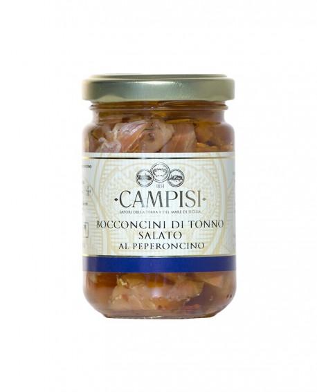 Bocconcini di Tonno salato al peperoncino in Olio di Oliva - vaso vetro 140 g - Campisi