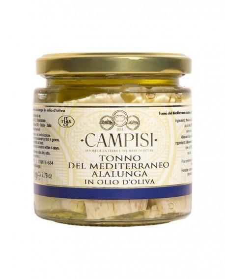 Tonno Alalunga del Mediterraneo in Olio di Oliva - vaso vetro 220 g - Campisi