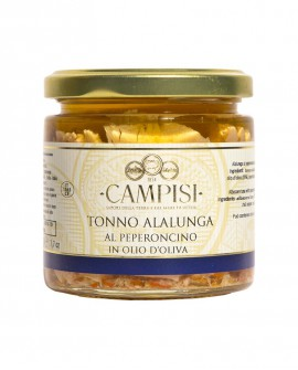 Tonno Alalunga del Mediterraneo al Peperoncino in Olio di Oliva - vaso vetro 220 g - Campisi