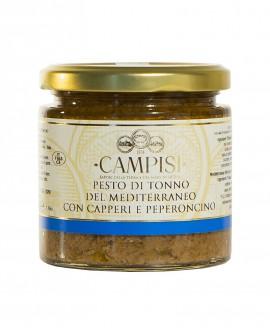 Pesto di Tonno del Mediterraneo con Capperi e Peperoncino - vaso vetro 220g - Campisi