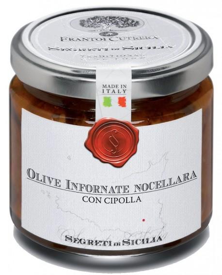 Olive infornate Nocellara con cipolla - vasetto di vetro 212 - 190 g - Frantoi Cutrera Segreti di Sicilia