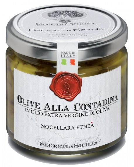 Olive Nocellara dell'Etna alla Contadina - vasetto di vetro 212 - 190 g - Frantoi Cutrera Segreti di Sicilia