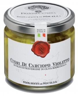 Cuori di Carciofo Violetto - vasetto di vetro 212 - 190 g - Frantoi Cutrera Segreti di Sicilia
