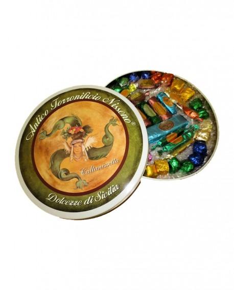 Latta circolare torrone misto Kg 1 - Antico Torronificio Nisseno