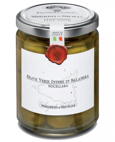 Olive Verdi intere in Salamoia Nocellara Belice - vasetto di vetro 314 - 290 g - Frantoi Cutrera Segreti di Sicilia