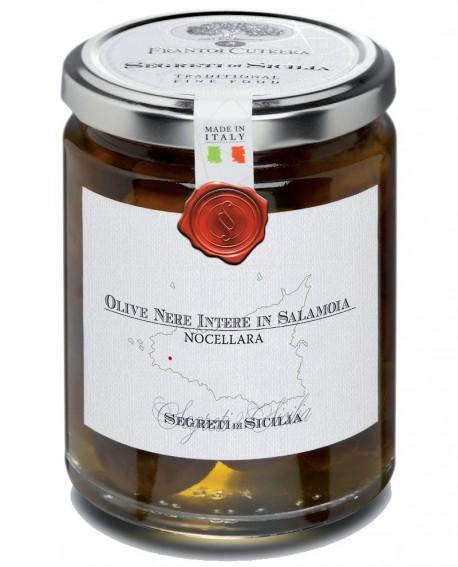 Olive Nere Naturali in Salamoia Nocellara Belice intere - vasetto di vetro 314 - 290 g - Frantoi Cutrera Segreti di Sicilia