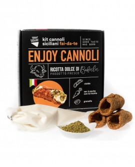 Enjoy Cannoli Siciliani con ricotta di bufala fresca - n.100 GRANDI - kit fai-da-te - 8,5 kg - Terra Siciliae