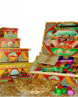 Scatola Folk in legno con torrone misto Kg 1 - Antico Torronificio Nisseno