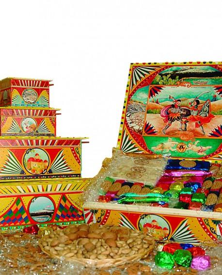 Scatola Folk in legno con torrone misto Kg 2 - Antico Torronificio Nisseno