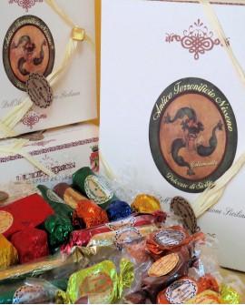 Scatola in cartone con torrone misto gr 600 - Antico Torronificio Nisseno